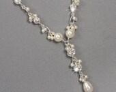 Pearl and Rhinestone Y Drop Necklace, Cluster Necklace, Swarovski Bridal Jewelry, Unique Wedding Jewelry, Pearl Bridal Jewelry
