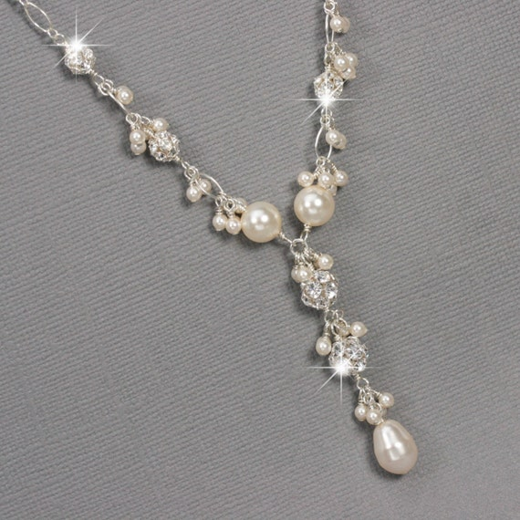 wedding ring necklace pearl and rhinestone y drop necklace cluster necklace 9968