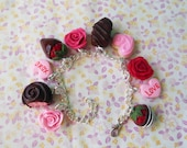 Polymer Clay Flowers and Chocolates Valentine's Day Charm Bracelet Conversation Hearts Roses Strawberries