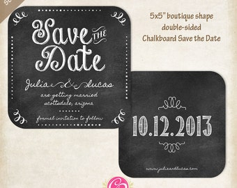 Boutique Chalkboard Save the Date - Set of 25