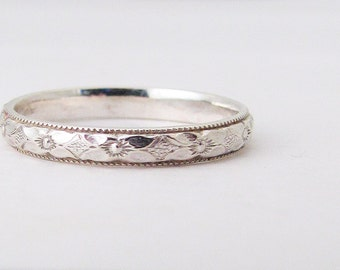 Silver Promise Ring Purity Ring Thin Floral Wedding Band Posey Ring Engagement Ring Silver Stacking Ring