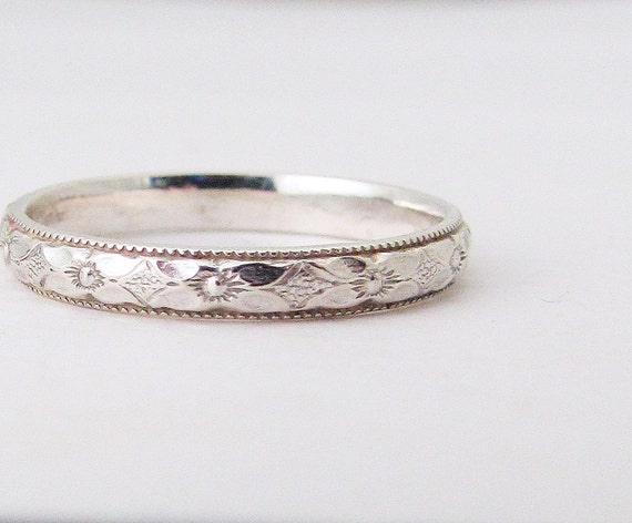Silver Promise Ring Purity Ring Thin Floral Wedding Band Posey