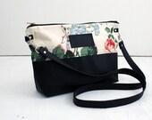 Everyday Bag, Pale Floral / crossbody bag, cross body purse, fabric handbags, fabric purses, small crossbody bag, clutch purse, vegan bag