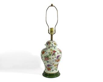 Large Vintage Ceramic Floral Vase Lamp