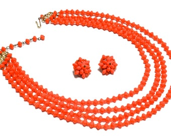 Tangerine Orange Multistrand Glass Bead Necklace & Earrings - West Germany