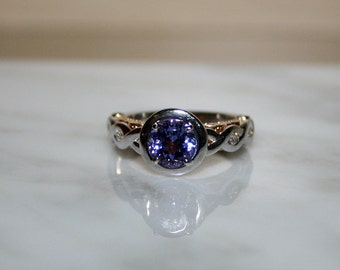 Tanzanite Two-Toned Wedding or Engagement Ring/Appraisal Included