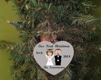 wedding ornament, bride and groom, our first Christmas, Mr and Mrs, personalized gift, wedding gift, gift for couple, wood ornament