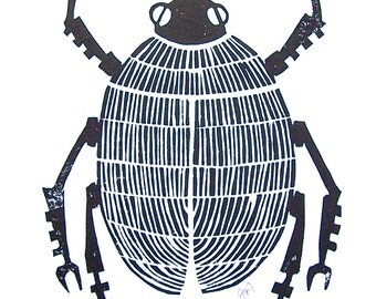LINOCUT PRINT - June bug BLACK 8x10 poster on cotton paper - Machine insect beetle