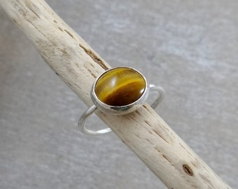Tigers Eye Ring Sterling Silver size 8.75