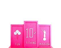 Vintage LDS/Mormon Children's Coin Bank-Hot Pink Plastic-Tithing Church Piggy Latter Day Saints