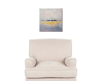 Square 12x12 abstract landscape painting in grey yellow/ gray yellow. Some texture, modern art