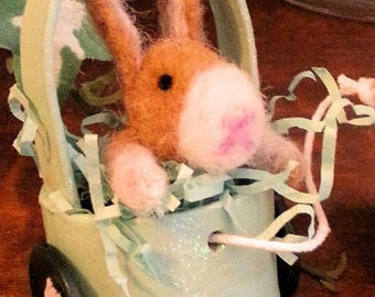 Momma and Baby Bunny, Needle Felted Momma With Baby In A Cart, Easter Bunny
