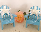 Beach Wedding Cake Topper - 2 Mini Adirondack Chairs with Starfish -  6 Chair Colors and 23 Ribbon Choices Mr.and Mrs.