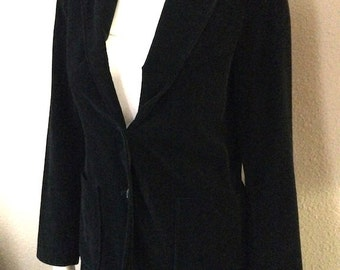 Vintage Women's 80's Velour Blazer, Black, Fully Lined, Jacket by Whimsey (S)