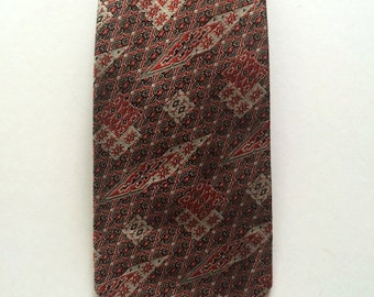 Vintage Neckties Men's 60's Polyester, Red, Black, Geometric Printed, Fat Tie