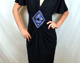 Vintage 1970s Neiman Marcus Black Beaded Dress