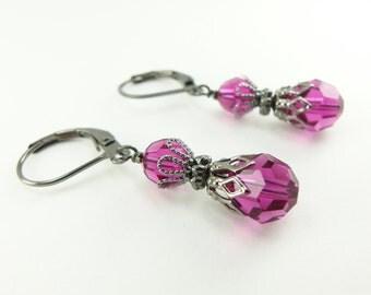 Fuschia Dangle Earrings Dark Silver Dangle Earrings Gunmetal Beaded Earrings Fuschia Crystal Earrings