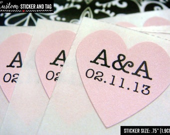108 custom initials and wedding date heart stickers .75 inch soft pink paper, envelope seals, personalized stickers, wedding favor (S-42)