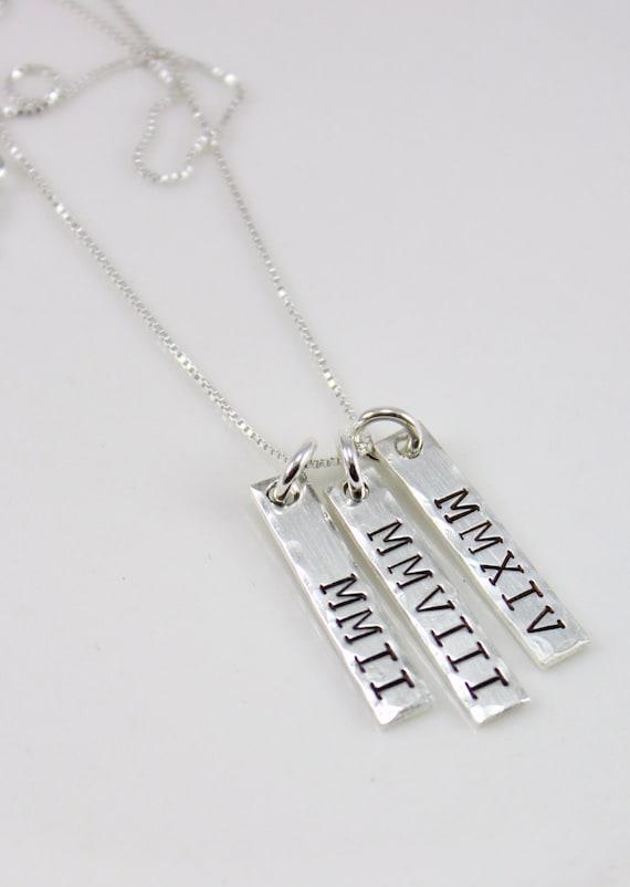 Roman Numeral Dates Necklace - Roman Numerals Bar necklace - Special Years Necklace - Special Dates Jewelry - Personalized Necklace
