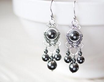 Long Metallic Black Chandelier Earrings, Oxidized sterling silver and hematite earrings, wire wrapped jewelry handmade
