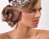 Crystal Headpiece, Bridal Hair Crystal Lace Headband, Rhinestone Hairpiece - Silver/Crystal or Black/Black Diamond
