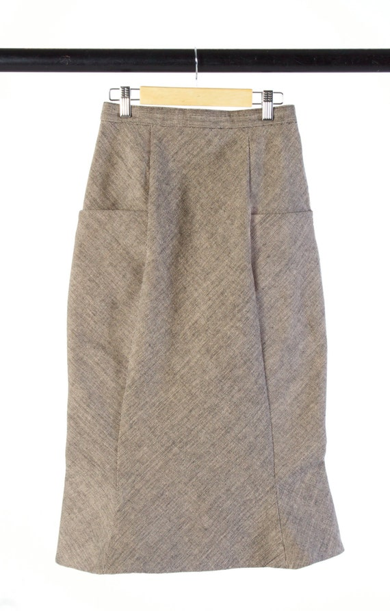 s high waisted pencil skirt in beige black by brmstudio