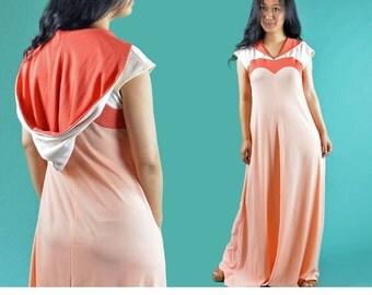 Vintage 70s Dress Bohemian Long Maxi Dress 1970s Hippie Dress HOODED Dress Caftan Maxi Dress Orange Mod Boho Festival Dress S / M