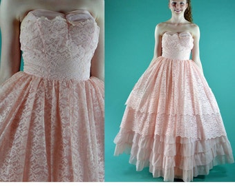 Vintage 50s Lace Maxi Dress Strapless Tiered Pink Lace Prom Party Dress / Nipped Waist Sheer Lace & Chiffon Ruffle Evening Dress XS / S