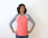 MOVING SALE - Lace Tshirt, Coral Lace Tee, Casual Lace Blouse, Womens Baseball Tee, Lace Raglan Top, Long Sleeve Tshirt, Coral Top - AMANDA