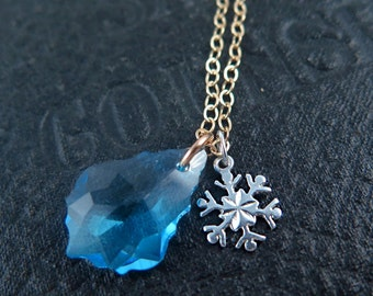 Snowflake Necklace, Blue Crystal Necklace, Silver Snow Flake Charmn Winter Jewelry, Winter Bridesmaid