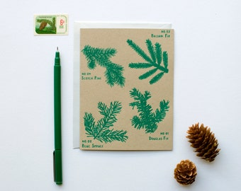 Holiday Tree Branches - Christmas - New Years card - Holiday - botanical - screen printed - calligraphy - shimmer opal