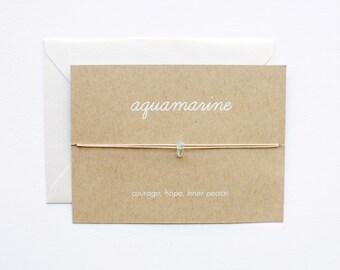 Aquamarine - Crystal Card - friendship necklace or bracelet - gold - amethyst - bridesmaid gift - birthday - best friends - bff - love