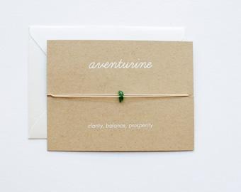 Aventurine - Crystal Card - friendship necklace or bracelet - gold - amethyst - bridesmaid gift - birthday - best friends - bff - love