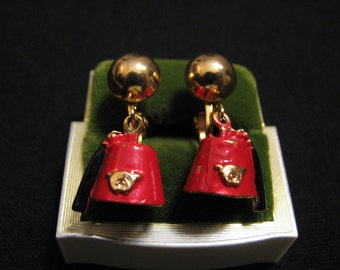 Vintage Gold Tone and Red Enameled Shriners Fez Hat Dangle Clip Earrings