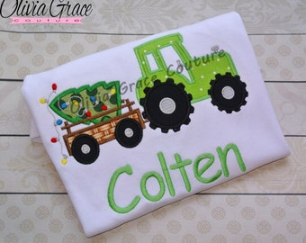 Boys Christmas Shirt, Green Tractor, Christmas Tractor with Tree, Embroidered Applique Shirt or Bodysuit, Christmas outfit
