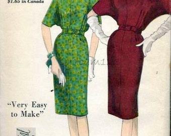 Vintage 1960s Dress Pattern Slim Skirt Bat Wing Sleeves Oval Neckline 1962 Vogue Special Design 4264 Bust 31