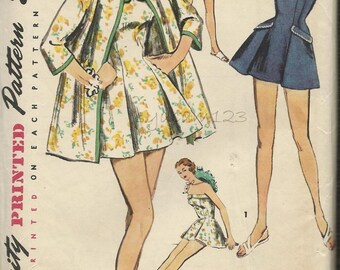 Vintage 1950s Bathing Suit & Coat Pattern One Piece Pleated Swimsuit and Collarless Beach Coat 1956 Simplicity 1607 Bust 38