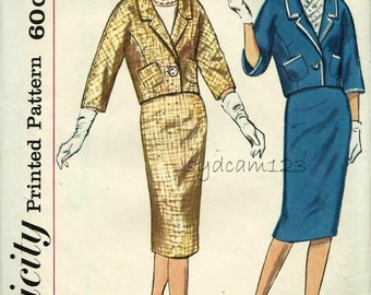 Vintage 1960s Pattern Suit Kimono Sleeve Single Button Jacket Pencil Skirt 1960 Simplicity 3313 Bust 33