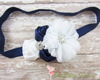 Navy Blue and White Headband, Satin & Chiffon Flowers Headband or Hair Clip, Flower Girl Headband, Newborn, Baby Child Girls Headband