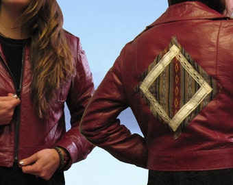 Reconstructed Leather and Serape Jacket