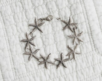 Vintage Starfish Sterling Silver Bracelet Seaside Ocean Nautical Wedding Jewelry Gift for Her Special Make a Difference Best Friend Layered