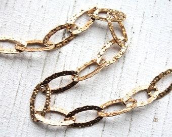 1 Foot Italian Gold Vermeil Chain // 23k Gold Hammered Oval Link Bulk Jewelry Chain // 8mm x 16mm/ITAF45