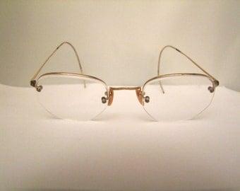 SALE 1920s Antique rp Gold  Vintage Eyeglasses Frames half rim  Rare/American Optical