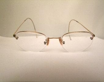 1920s Antique rp Gold  Vintage Eyeglasses Frames half rim  Rare/American Optical