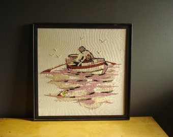Out at Sea - Vintage Crewel Artwork - Embroidered Wall Hanging