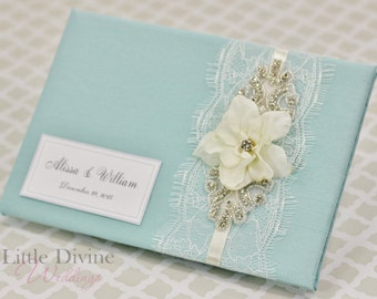 Vintage Inspired Crystal Aqua Blue Wedding Guest Book Custom Made in your Colors