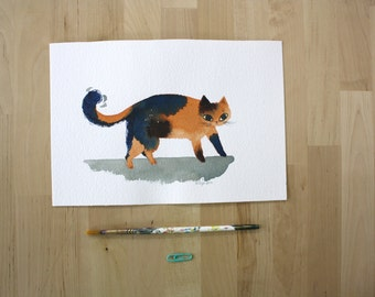Cat Flicking its Tail- Original Watercolor Painting- 7x10""