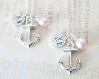 Personalised Anchor necklace - simple silver necklace, Freshwater Pearl, letter, initial, bridesmaids, best friends, sisters, mum, navy