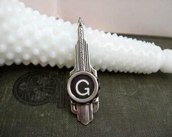 Typewriter Key Jewelry - Letter G - Art Deco