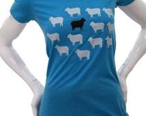 Black Sheep T Shirt. Art by MATLEY. Women's scoop neck & V-Neck. Soft fitted T shirt. Great gift ideas. Animal. Farmer. Tree hugger. Nature.